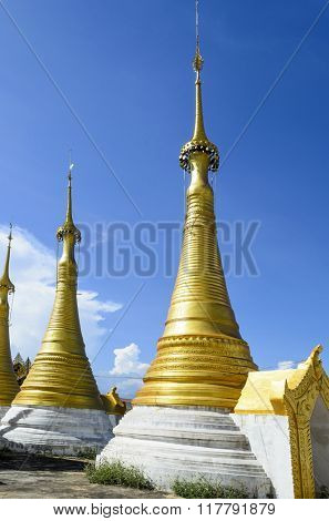 Shwe Inn Thein pagoda at Indein village near Inle Lake, Shan state, Burma (Myanmar)