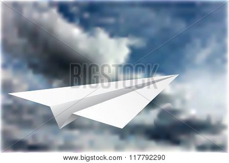 vector illustration of the paper plane on the cloudy sky
