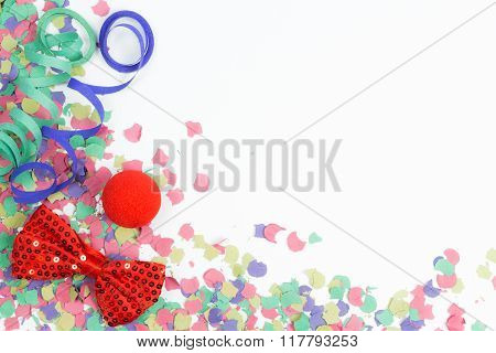 Confetti, Streamers And Red Bow
