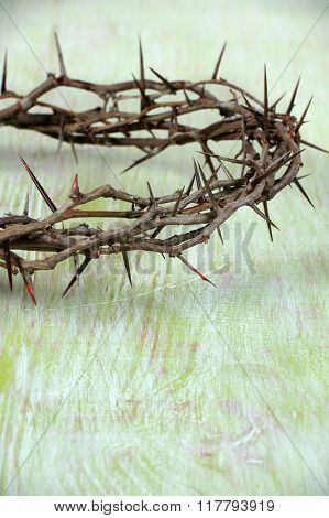 Partial view of crown of thorns on vintage table - Shallow depth of field on thorns