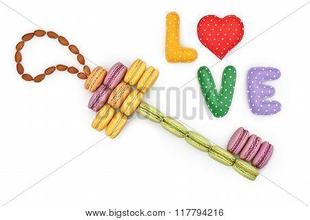 Macarons, key shape, Word Love, heart. Isolated