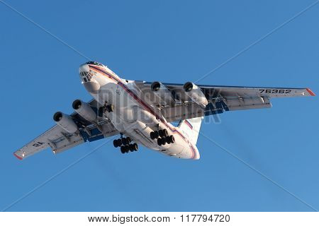 Cargo Aircraft Il-76 Russian Emercom Is Landing