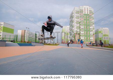 Skater making trick