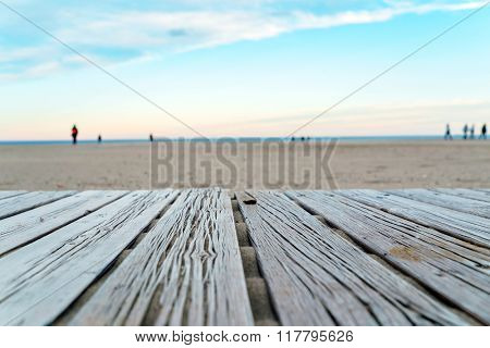 wooden or flooring on the beach