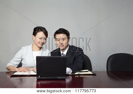 Businesspeople Working Together on Laptop