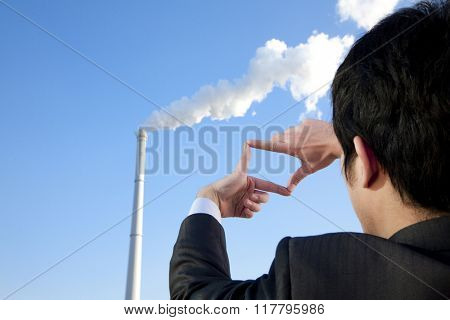 Businessman Framing Chimney