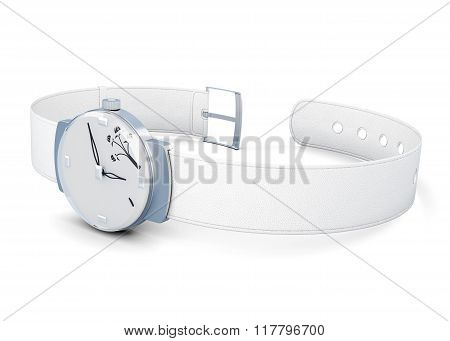 Women's wrist watch on white background. 3d render image