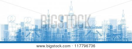 Outline London skyline with blue buildings and soldiers. Vector illustration. Business and tourism concept with skyscrapers. Image for presentation, banner, placard or web site