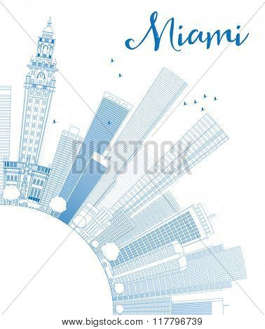 Outline Miami Skyline with Blue Buildings and Copy Space. Vector Illustration. Business Travel and Tourism Concept with Modern Buildings. Image for Presentation Banner Placard and Web Site.