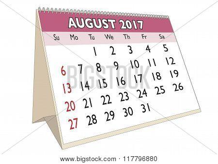 August 2017 Desk Calendar With Usa Festive Days