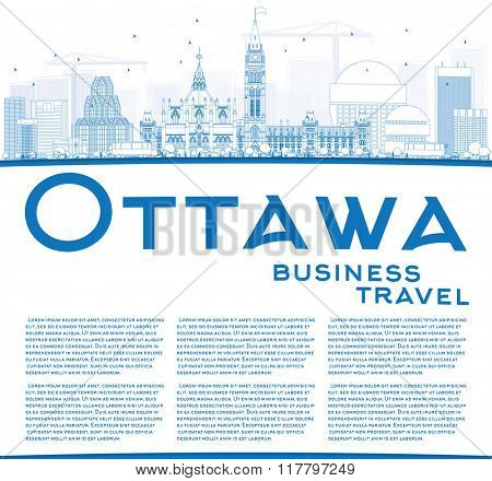 Outline Ottawa Skyline with Blue Buildings and Copy Space. Vector Illustration. Business travel and tourism concept with modern buildings. Image for presentation, banner, placard and web site.