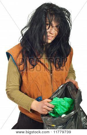 Beggar Searching Garbage