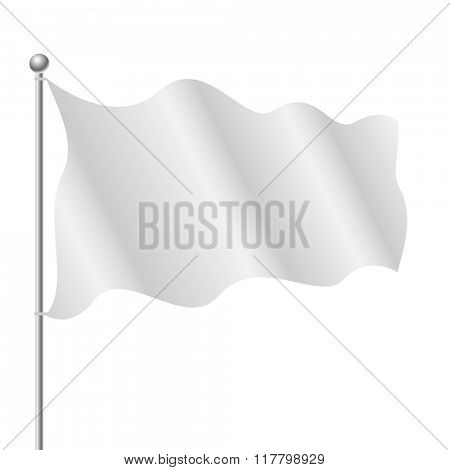 Blank white flag isolated on white background.