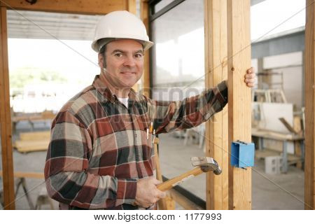 Construction Electrician Installing Box