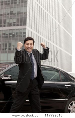 Businessman expressing enthusiasm