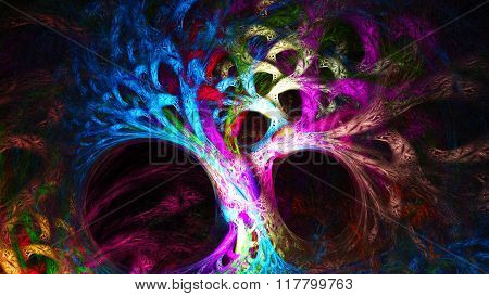 Abstract image. Mysterious psychedelic tree.