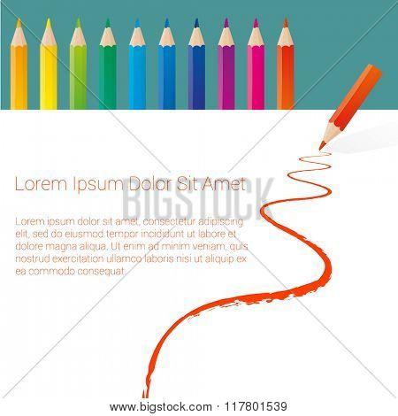Color pencils vector mock up.