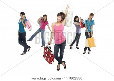 Young people excited about shopping
