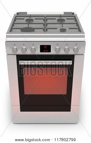 Gas Stove With Oven Isolated On A White Background