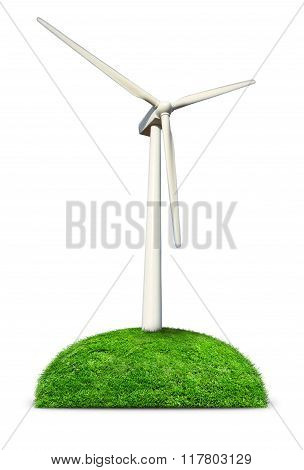 Wind Turbine On Green Hill.
