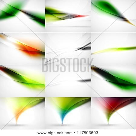 Abstract background set, blurred wave templates. Vector