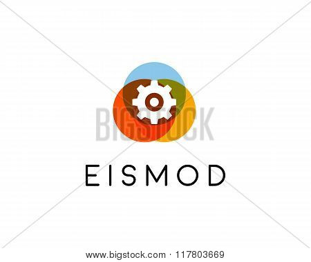 Abstract mechanic logo design. Setting creative symbol. Universal vector icon. Repair cogwheel sign.