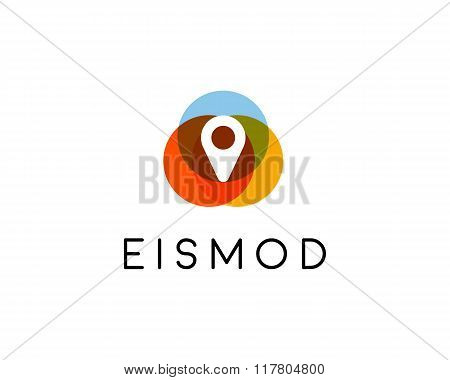 Abstract pin logo design. Location creative symbol. Universal vector icon. Navigation map sign.
