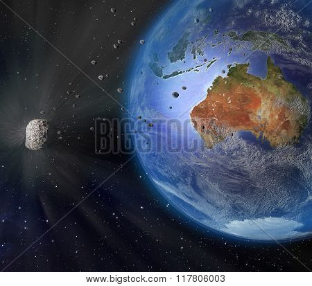 Asteroid Flying By Earth