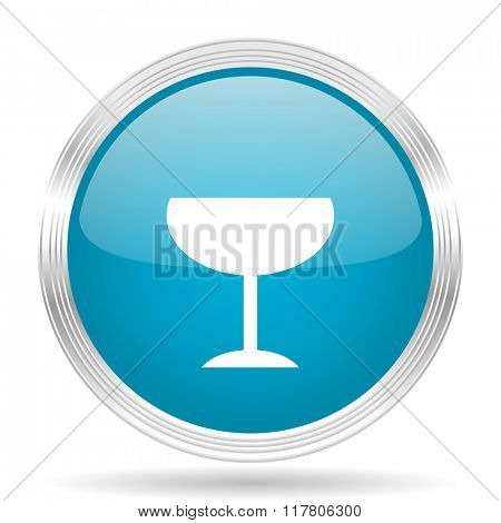 alcohol  blue glossy metallic circle modern web icon on white background