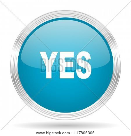 yes blue glossy metallic circle modern web icon on white background