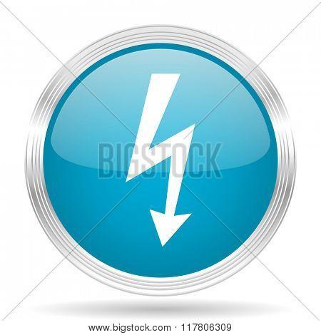 bolt blue glossy metallic circle modern web icon on white background