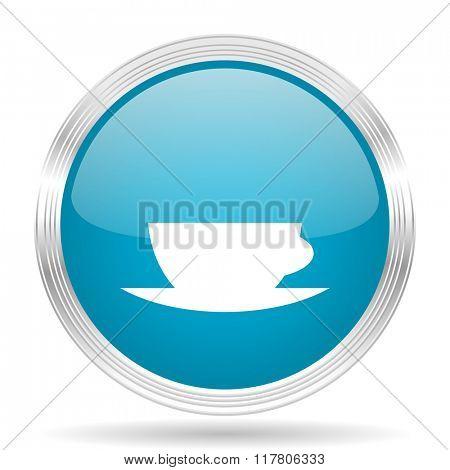 espresso blue glossy metallic circle modern web icon on white background