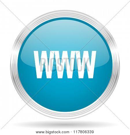 www blue glossy metallic circle modern web icon on white background