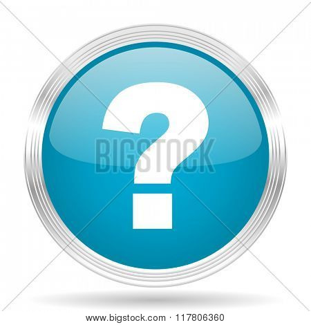 question mark blue glossy metallic circle modern web icon on white background