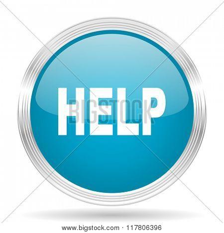 help blue glossy metallic circle modern web icon on white background