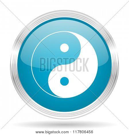 ying yang blue glossy metallic circle modern web icon on white background