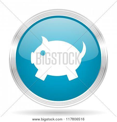 piggy bank blue glossy metallic circle modern web icon on white background