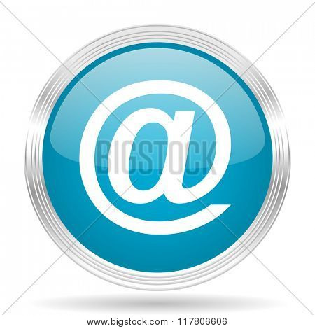 email blue glossy metallic circle modern web icon on white background