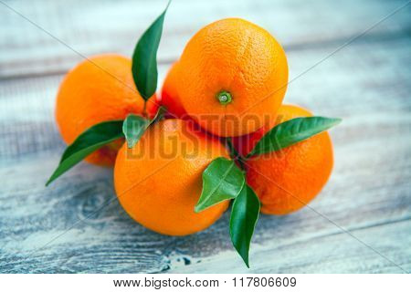 orange isolated on a wooden background
