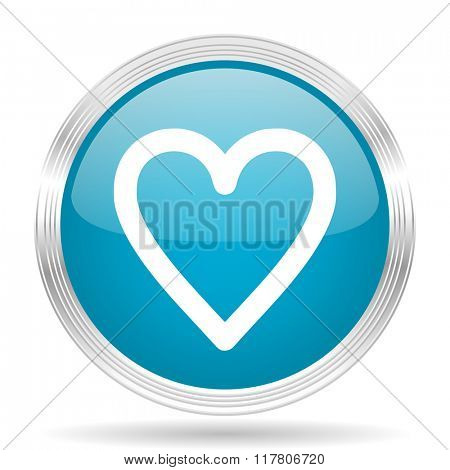heart blue glossy metallic circle modern web icon on white background