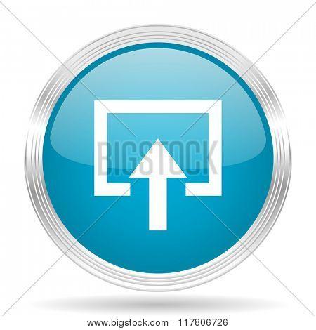 enter blue glossy metallic circle modern web icon on white background