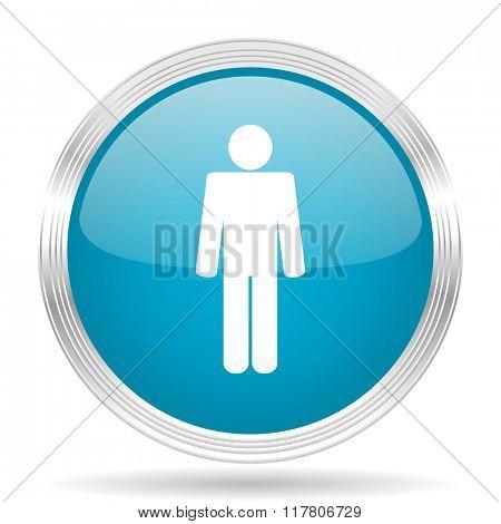 male blue glossy metallic circle modern web icon on white background