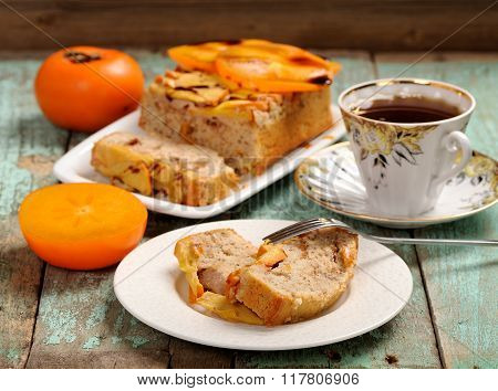 Persimmons Cake With Tea And Fresh Persimmons, Chocolate Sauce