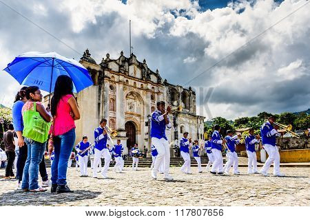 Independence Day Band Outside Village Church, Guatemala