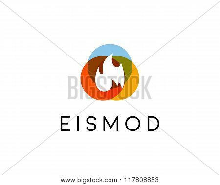Abstract fire heat logo design. Burn warning symbol. Universal fuel vector icon. Fuel flammable sign