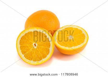 Halved And Whole Orange Isolated
