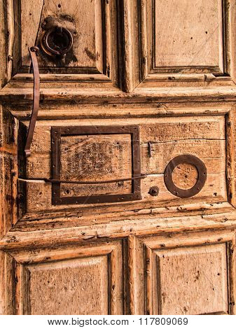 Vew On Main Entrance In At The Church Of The Holy Sepulchre In Old City Of Jerusalem,