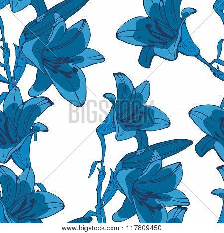 Elegant seamless lilly flowers pattern