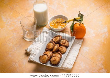 breakfast with croissant orange marmalade and milk