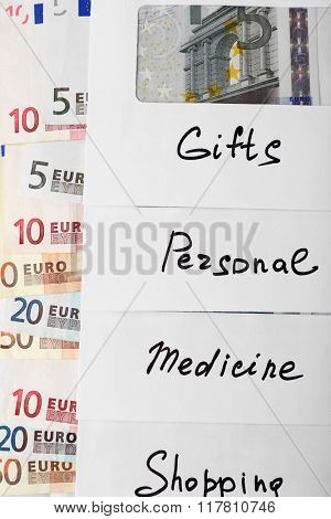 Distribution of money, financial planning, euro in envelopes, closeup